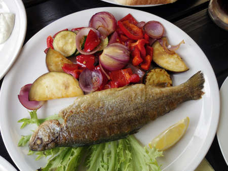 protien: grill lake trout steak with vegetable Stock Photo