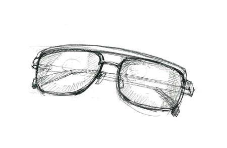 glasses drawing, hand sketch doodle illustration illustration