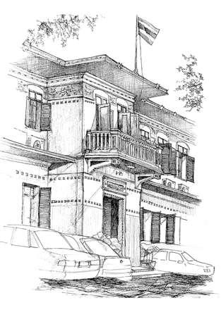 colonial building: colonial negro l�piz edificio y bosquejo blanco Foto de archivo