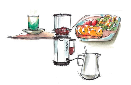 coffee shop, cafe equipments illustration