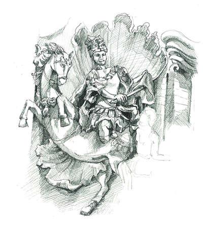 cambodia sculpture: Cambodia art statue sketch illustration Stock Photo