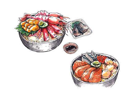 hokkaido famous seafood, japanese food watercolor illustration illustration