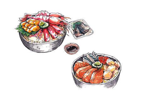 hokkaido famous seafood, japanese food watercolor illustration illustration