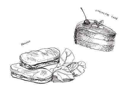 panini: panini and cake chocolate, food in cafe, line drawing Stock Photo