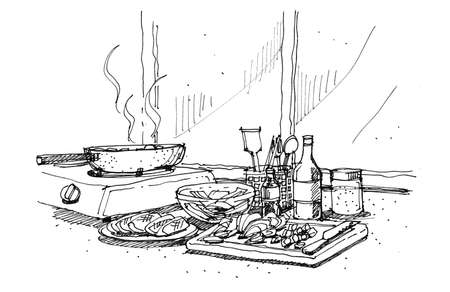 trencher: cooking at home doodle illustration Stock Photo