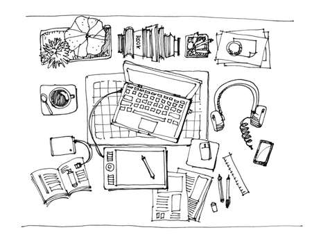 working table top view doodle sketch illustration illustration