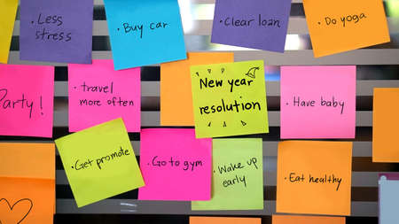 new books: new year resolutions concept Stock Photo