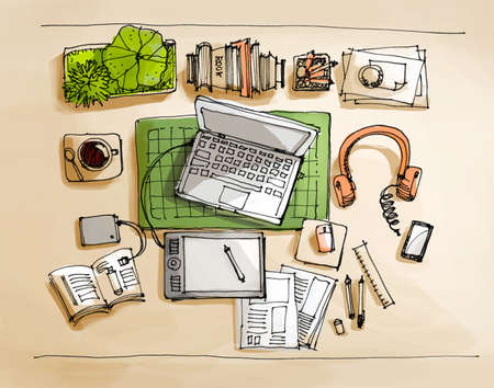 working table top view doodle sketch illustration illustration