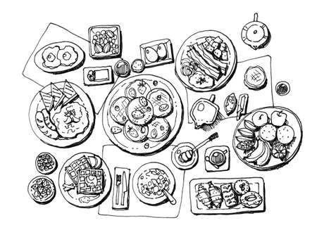 full set breakfast hand illustration illustration
