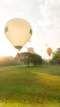 Hot air balloon festival, floating over the park in the morning