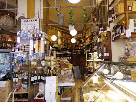 프랑스 식료품 가게 빈티지 스타일의 클래식 에디토리얼