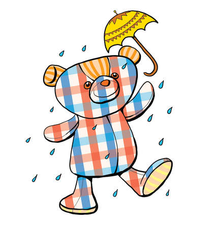 scotch: Scotch pattern teddy bear in the rain with umbrella illustration