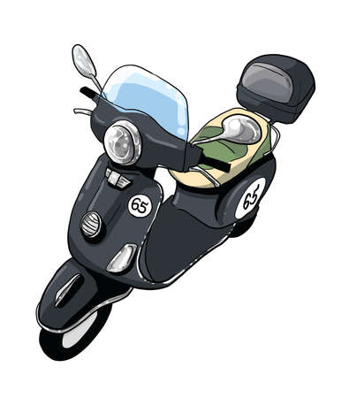 black vespa scooter illustration