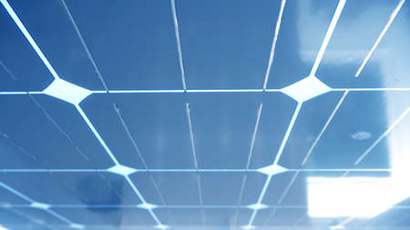 underneath: solar cell roof underneath with blue color Stock Photo
