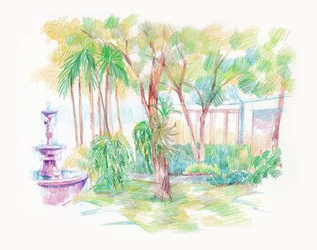 beautiful green garden with fountain artistic illustration illustration