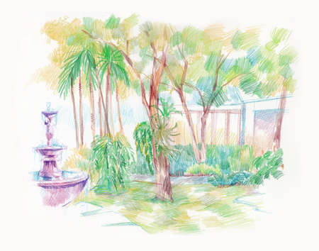garden fountain: beautiful green garden with fountain artistic illustration