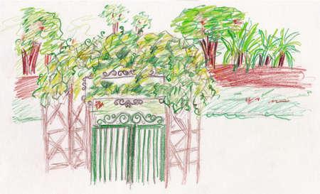 english countryside: garden green gate entrance illustration, colour pencil drawing