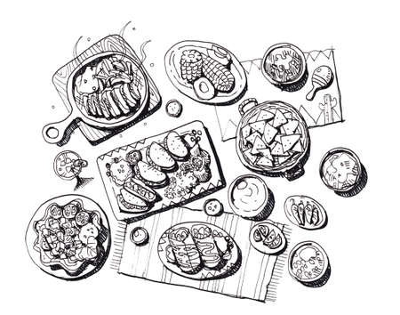 chips and salsa: Full set of mexican food hand draw illustration Stock Photo