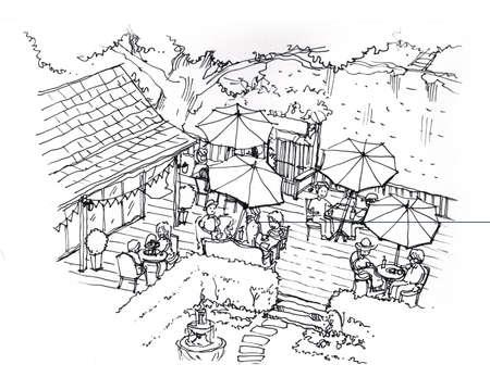 tea cafe, coffee, cake shop in the garden illustration illustration