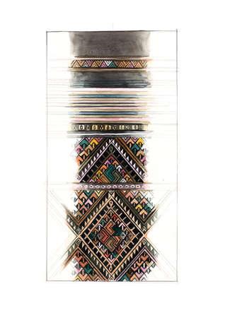 native Thai, Asian fabric pattern illustration hand drawn illustration