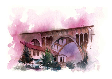 san diego: bridge water colour painting, houses under the structure Stock Photo