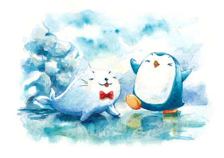 northpole: happy penguin and seal in Northpole water color illustration