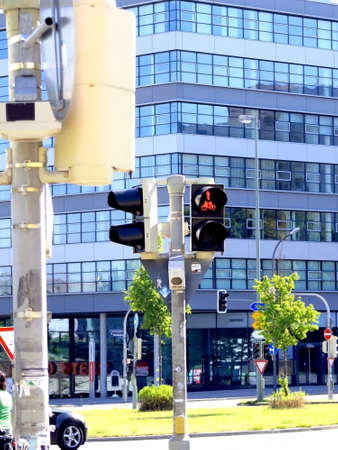 bikeway: red light for bike pole at street cross junction Stock Photo