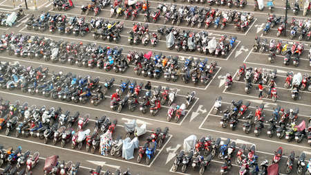 car and motorcycle parking lot top view Editorial