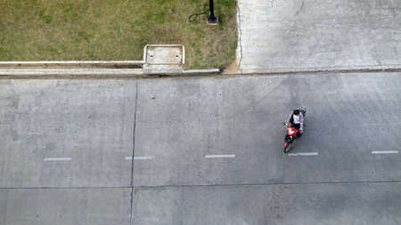 motorbike on concrete street from top view