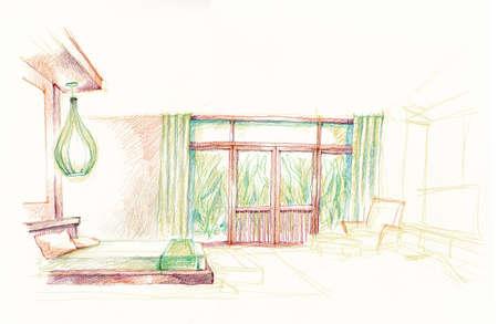 hotel bedroom: resort hotel bedroom interior illustration