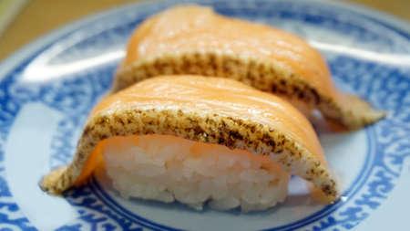 seared: seared salmon belly sushi nigiri Japanese food