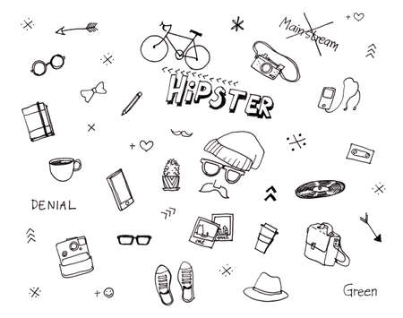 mp: Hipster illustration hand drawn elements