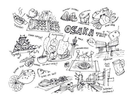 Osaka Japan drawing illustration of landmark and must do items Stock Photo