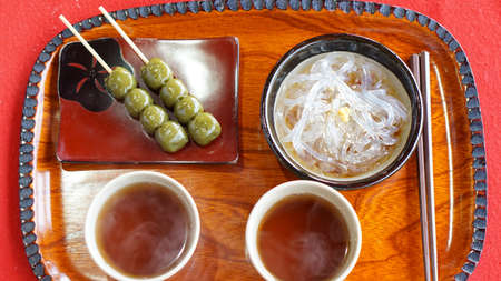 Japanese Kyoto traditional sweets dessert set, dango, jelly noodle and green tea photo
