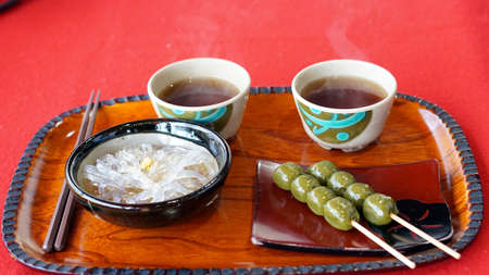 munchy: Japanese Kyoto traditional sweets dessert set, dango, jelly noodle and green tea Stock Photo