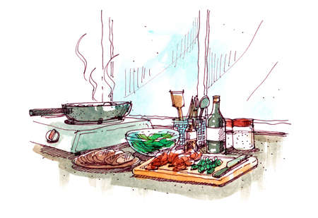 cooking at home watercolour painting illustration