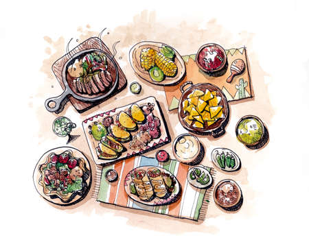 fajita: Colorful Mexican food hand drawing and watercolour painting illustration Stock Photo