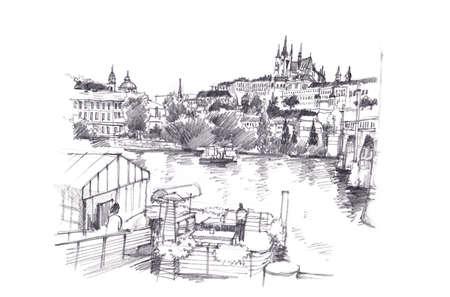 hand pencil: Prague, Czech Republic hand pencil drawing art