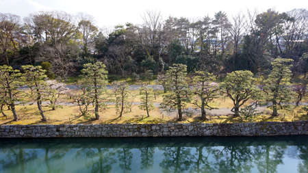 nijo: canal water and tree landscape around nijo castle in Kyoto Japan