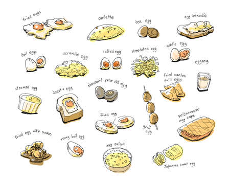 variety internation egg menu hand drawing illustration Stock Illustration - 39320251