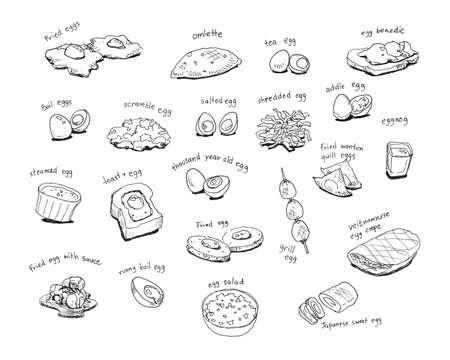 다양한 국제 달걀 메뉴 핸드 드로잉 그림