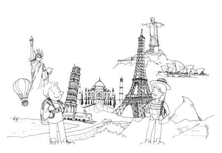 matterhorn: man and woman travel around the world to landmark concept illustration Stock Photo