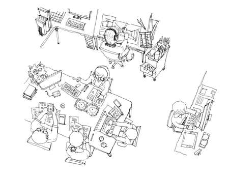 office working space illustration. Team meeting from top view