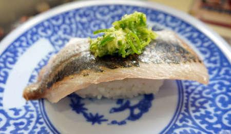 stingy: Mackerel fish with rice nigiri, sushi Japanese cuisine