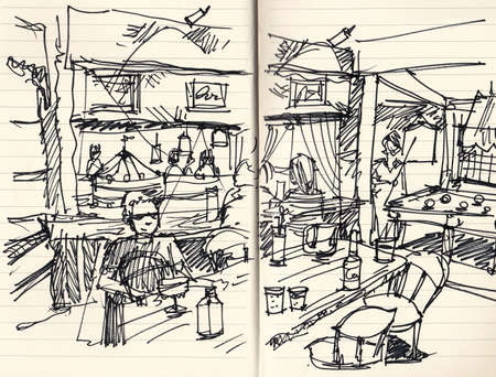 live music: people in pub with live music hand doodle illustration