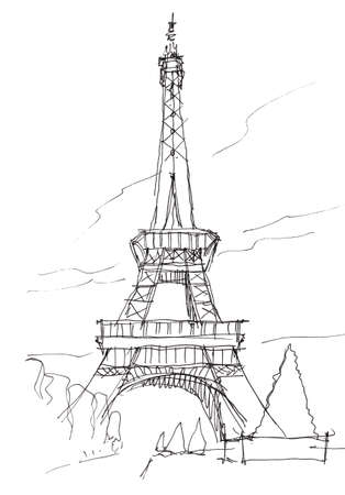 eiffel tower hand pen doodle sketch Stock Photo