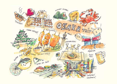 Osaka Japan drawing illustration of landmark and must do items Banco de Imagens