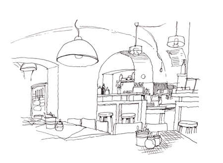 cozy: cozy small cafe interior hand sketch illustration