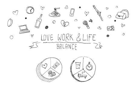 balance concept: work life balance concept doodle illustration