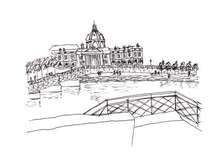 pont: View from Seine river France hand drawing illustration